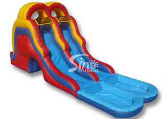 5 mts high double lane kids inflatable water slide with big water pool