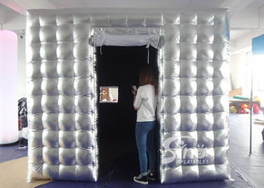 China 4x4 meters silver cube tube LED inflatable photo booth with door N window for party activities supplier