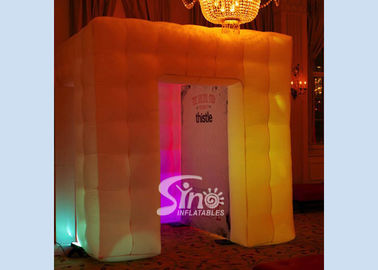 China 8'x8'x8' cube tube led inflatable photo booth enclosure for night shows or party bars supplier