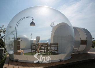 China Outdoor 5m Clear Top Resort Inflatable Bubble Camping Tent With Steel Frame Capsule Tunnel For Glamping supplier