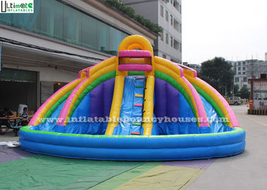 China Backyard Rainbow Commercial Inflatable Water Slides with Pool , Double Lane supplier