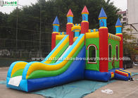 China Lead Free PVC Tarpaulin Inflatable Bouncy Castles , Rainbow Castle Slide Inflatable Combo factory