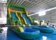 China Double Lanes Inflatable Water Slide Games Huge Colorful With Pools factory