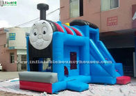 China Huge Outdoor Thomas Train Inflatable Bounce Houses With Slide Blue Color factory