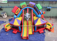 China Funny Circus City Train Inflatable Slide Lead Free PVC Tarpaulin Bounce House Slides factory