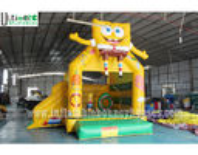 China 3 in 1 Kids SpongeBob Inflatable Jumping Castles With Pillar N Hoop Lead Free Material factory