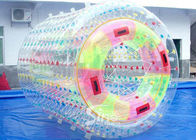 3.0m long transparent double layers inflatable water roller ball with tubes on entrance