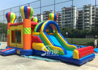 China 4in1 Rainbow Commercial Kids Inflatable Bounce castle with Slide N basket hoop inside company