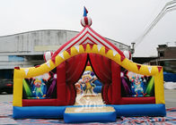 Circus Clown Themed Inflatable Fun City Amusement Park With Slide Inside For Kids