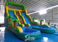 17' ocean wavy commercial inflatable water slide with pool made of lead free pvc tarpaulin