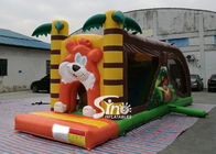 8 Meters Long Kids Inflatable Jungle Bouncy Castle With Tunnel With EN14960 Certified
