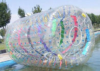 3.0m long clear inflatable zorb roller with colorful ribbons for water and land use