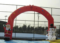 Outdoor 8x4m advertising Inflatable Christmas arch with Santa Claus N Snowman attached