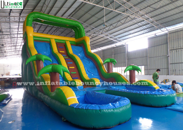 Double Lanes Inflatable Water Slide Games Huge Colorful With Pools