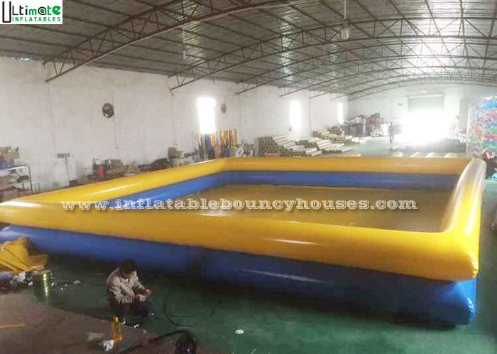 1 Meter High Yellow N Blue Inflatable Water Pools Double Deck For Swimming Or Aquatic Pastime