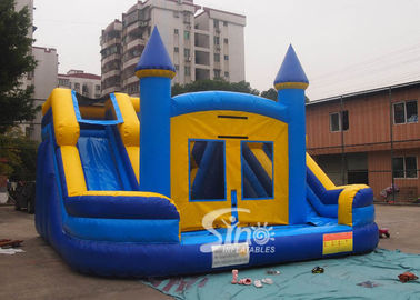 China Commercial kids double lane inflatable water combo castle with removable custom banner factory
