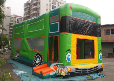 China Commercial grade giant bus inflatable bouncer with slide N pillars inside for kids fun entertainments factory