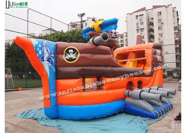 PVC Tarpaulin Pirate Ship Inflatable Slide Residential Bounce Houses OEM