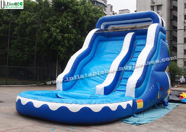 17' Wavy Commercial Inflatable Water Slide With Pool Made Of 18 OZ PVC Tarpaulin