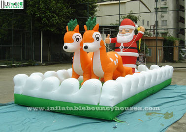 Outside Christmas Inflatables Jingle Bells / Father And Reindeers Running Together