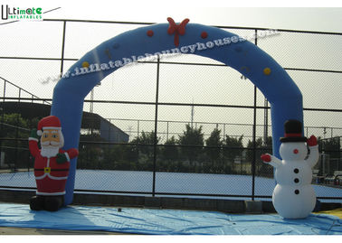 Commercial Grade Inflatable Christmas Arch for Promotional, Blue / Red