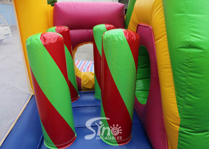 Outdoor Kids Inflatable Bouncy Castle With Slide And Pillars Inside Made Of Best Pvc Tarpaulin 0