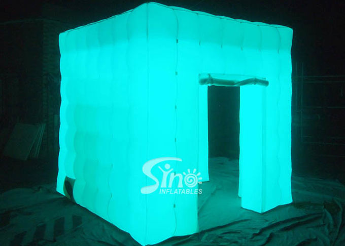 8'x8' portable cube tube Led inflatable photo booth for wedding events or parties night